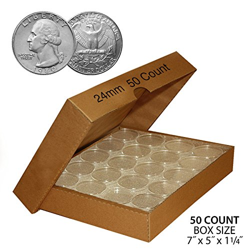 (50 QUARTER Direct-Fit Airtight 24mm Coin Capsule Holder QUARTERS QTY: 50 w/ BOX)