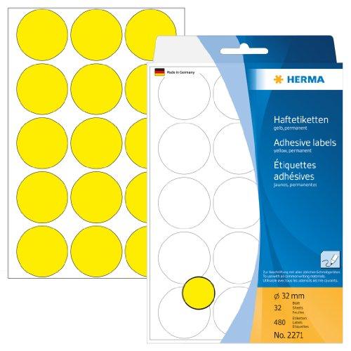 Herma 2271 Vielzwecketiketten (Ø 32 mm, rund Papier matt) 480 Stück gelb