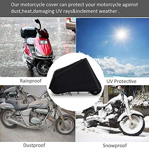 WZTO Telo Coprimoto Impermeabile XXL-Nero Motociclo Copri 210D Antipolvere Anti UV Traspirante Universale Telo per Moto,Scooter