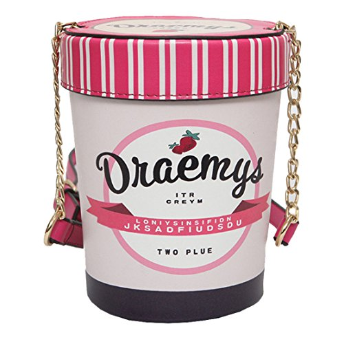 Milata Summer Strawberry Ice Cream modello donne cuoio borsa a tracolla a forma di secchio