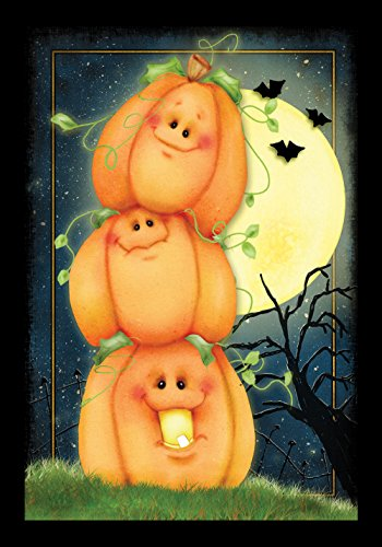 (Toland Home Garden Stack o Lanterns 28 x 40 Inch Decorative Spooky Halloween Pumpkin Full Moon House Flag)