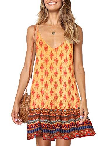 (ZESICA Women's Summer Floral Print Spaghetti Strap V Neck Ruffle A line Swing Beach Short Dress Orange)