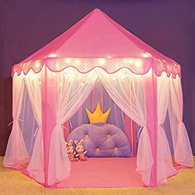Amazon.com Wilwolfer Princess Castle Play Tent Large Kids Play House with Star Lights Girls Pink Play Tents Toy for Indoor u0026 Outdoor Games Toys u0026 Games & Amazon.com: Wilwolfer Princess Castle Play Tent Large Kids Play ...