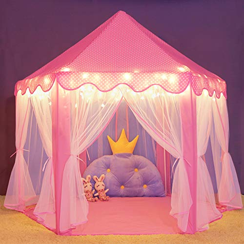 - wilwolfer Princess Castle Play Tent for Girls Large Kids Play Tents Hexagon Playhouse with Star Lights Toys for Children Indoor Games (Pink)