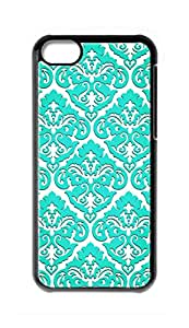 Custom iPhone 5C Case , Damask Pattern Hard Plastic Protective Cases Cover by Foreverway --296