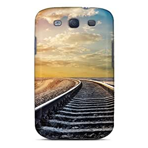 Fashion Protective Train Tracks To The Setting Sun Case Cover For Galaxy S3