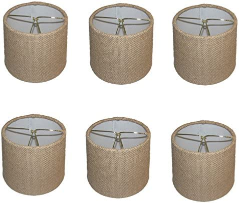 Upgradelights Set of Six European Drum Style Chandelier Lamp Shade Mini Shade Natural Burlap Fabric