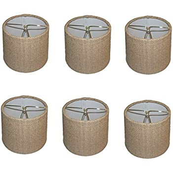 Upgradelights Sand Linen 6 Inch Drum Style Clip On Chandelier Mini ...