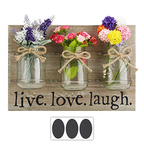 Round Rich Solid Wood Plaque with Mason Jars and Butterfly Knot Rope - Rustic Wall Décor