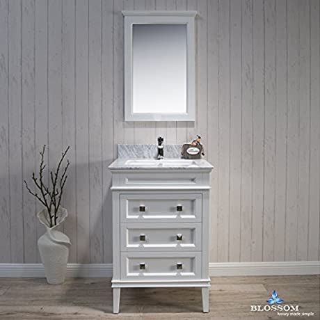 BLOSSOM 015 24 01 WCM Bordeaux 24 Vanity Set With Mirror And White Carrara Marble Countertop Matte White