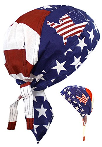 American Flag Headwrap Patriotic Doo Rag Red White and Blue (Amer United States) ()