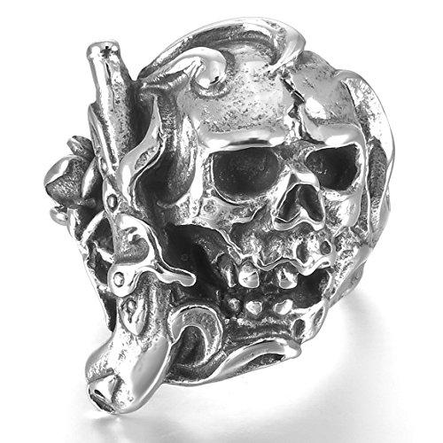 INBLUE Men's Stainless Steel Ring Band Silver Tone Black Pirate Skull