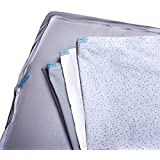 QuickZip, the Fastest, Easiest Way to Change Crib Sheets, 3 Zip-On Sheets: 1 Gray Cotton, 1 Gray Dot Cotton, 1 White Fleece + 1 Drop-In Base in Gray Cotton