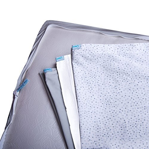 QuickZip-the-Fastest-Easiest-Way-to-Change-Crib-Sheets-3-Zip-On-Sheets-1-Gray-Cotton-1-Gray-Dot-Cotton-1-White-Fleece-1-Drop-In-Base-in-Gray-Cotton