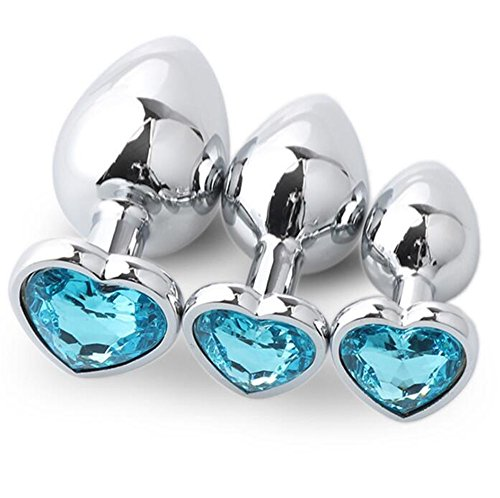Anal Plug Stainless Steel Heart Shape Fetish Butt Plug Anal Toy S M L Jewel Trainer Set 3PCS Sex Diamond Jeweled Toys Light blue by FasterS