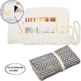 Teamoy Knitting Needles Holder Case(up to 11 Inches), Cotton Canvas Rolling Organizer for Straight and Circular Knitting Needles, Crochet Hooks and Accessories, Arrow - NO Accessories Included