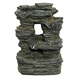 water and rock fountain - Sunnydaze Five Stream Rock Cavern Tabletop Fountain with Multi-Colored LED Lights