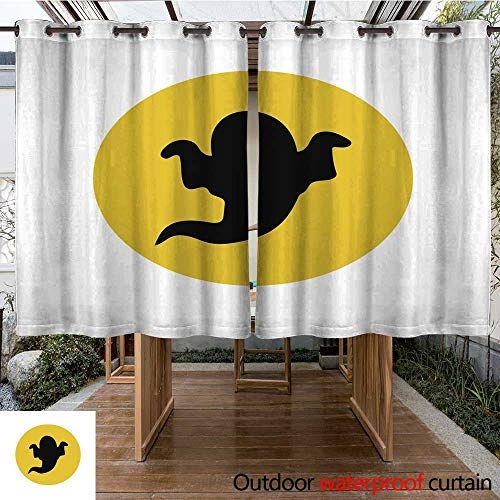 RenteriaDecor Outdoor Ultraviolet Protective Curtains Halloween Ghost Silhouette W55 x L72 ()