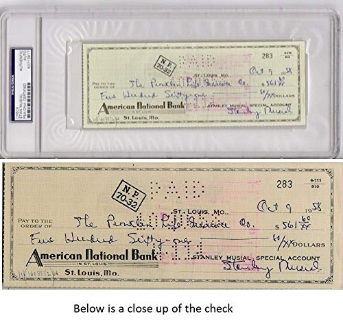Stan Musial Autographed Signed Original Vintage Bank Check From 1958 PSA/DNA Authentic