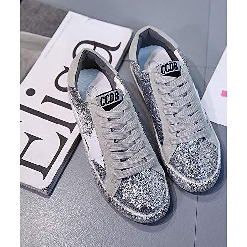 Scarpe Sneakers Primi Silver da Canvas ZHZNVX da leggere Comfort Paillette Scarpe Suole Tacco Primavera PU camminatori Estate donna piatto passeggio Poliuretano dw66Rqv