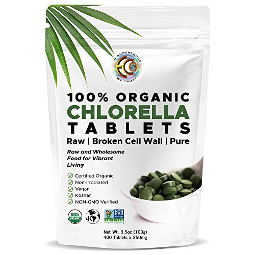 Earth Circle Organics, premium Chlorella tablets, USDA Organic, Kosher, highest potency, pure Chlorella raw superfood, cracked cell wall, high in protein, no additives or fillers - 400 Tablets
