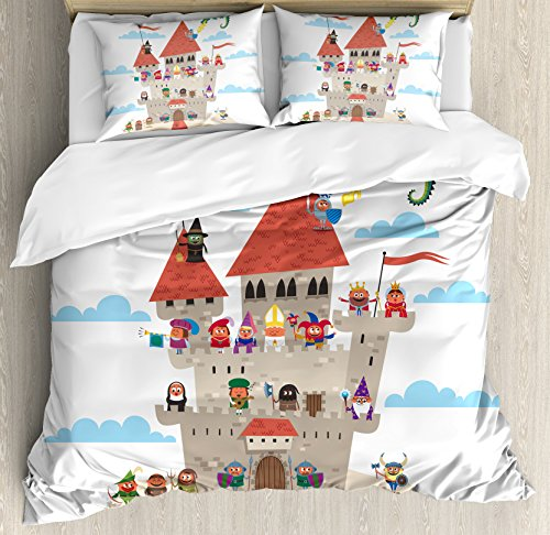 Ambesonne Kids Duvet Cover Set Queen Size, Fairy Tale Story Book Castle King Queen Princess Dragon Witch Knight Wizard Vikings Theme Print, Decorative 3 Piece Bedding Set with 2 Pillow - Guest Theme Book Fairy Tale