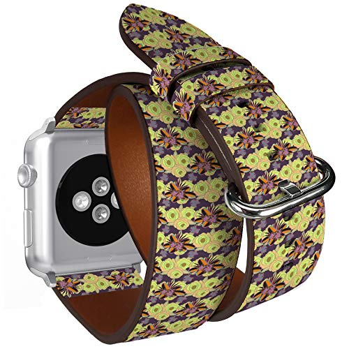 Compatible with Apple Watch (Small 38mm/40mm) Series 1,2,3,4 - Double Tour Bracelet Strap Wristband Smart Watch Band Replacement - Textile Print Bed Linen ()