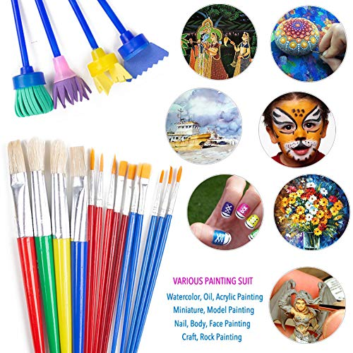 BigOtters Painting Tool Kit, 34Pcs Paint Supplies Include Paint Cups with Lids Palette Tray Multi Sizes Paint Pen Brushes Set for Kids Gifts School Prizes Art Party