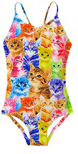 AIDEAONE Big Girls One Piece Swimsuit Cat Printing Bathing Suits Kids Swimwear 9-10Y ()