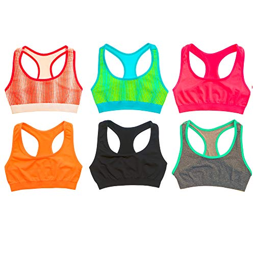 Alyce Intimates Seamless Girls Racerback Sports Bra, Pack of 6