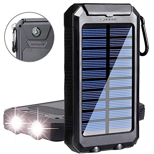 Phone Solar Charger,Yelomin 20000mAh Portable Outdoor Waterproof Mobile Power Bank,Camping External Backup Battery Pack Dual USB 5V 1A/2A Output 2 Led Light Flashlight with Compass for Tablet iPhone