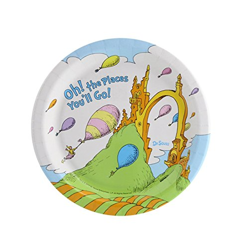 Dr. Seuss Oh The Places You'll Go Graduation Party Supplies Dessert Plate Pack (8) -