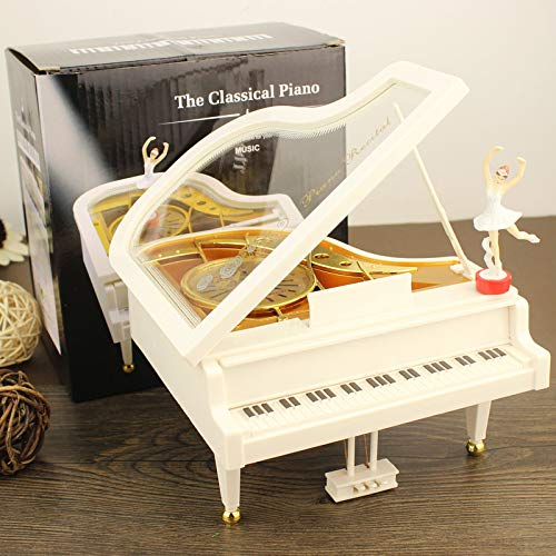 Beneficial Piano Shape Music Box,Home Room Decoration with Vintage Baller Dancer, Kids Child OR Wedding Gift (White) by Beneficial (Image #1)