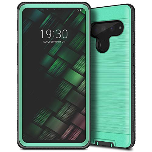 LG V50 ThinQ, CinoCase LG V50 Case Heavy Duty Rugged Armor Shockproof Dual Layer Hybrid Hard PC + Protective TPU Bumper Cover with Brushed Metal Texture Back Case for LG V50 ThinQ Mint Green ()