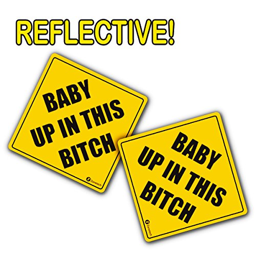 Zone Tech Baby Up On This Bitch Vehicle Bumper Magnet - 2-Pack Premium Quality Convenient Reflective Baby Up On This Bitch Vehicle Safety Funny Sign Bumper Magnet