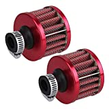 BQLZR 13Mm Red Cone Mini Oil Air Intake Crankcase Vent Valve Cover Breather Filter Pack Of 2