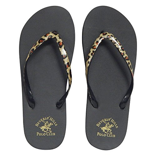 Beverly Hills Polo Club Leopard Women's Flip Flop Sandal Thong (6 US, Natural)