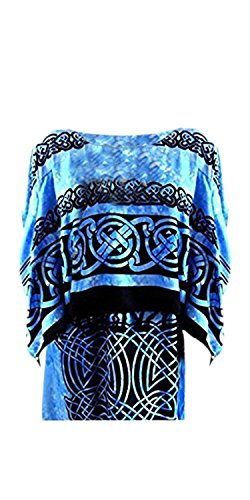 Celtic Kaftan Caftan Dress Plus One Size Cool Soft Long Ladies Soft Roman Blue