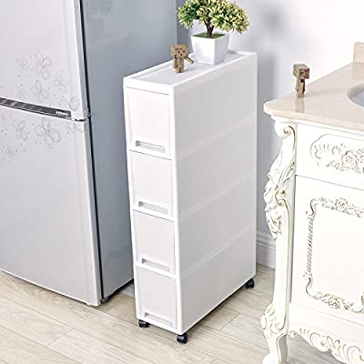 "Shozafia Narrow Slim Rolling Storage Cart and Organizer, 7.1 inches Kitchen Storage Cabinet Beside Fridge Small Plastic Rolling Shelf With Drawers For Bathroom - √ Ideal storage for home, kitchen, crafts, bathroom storage or art studios, Also used as closed laundry utility cart or vertical dresser storage tower. √ Product dimensions of bathroom organizers and storage: 33"" H x 18"" D x 7"" W. (White) √ DESIGN FOR SPACE-SAVING: The contemporary modern design allows the rack to provide maximum capacity in minimal space and glides effortlessly into small seemingly useless tight space alongside cupboard or refrigerator. It is fantasy to be used in kitchen or used as bathroom cabinet beside toilet. - shelves-cabinets, bathroom-fixtures-hardware, bathroom - 5138JKfVGBL. SS400  -"