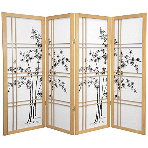 Cross Tree Bamboo Double (ORIENTAL FURNITURE 4 ft. Tall Bamboo Tree Shoji Screen - Natural - 4 Panels)