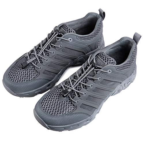 FREE SOLDIER Men's Water Shoes Ultra Light Breathable Quick Drying Tactical Shoes Upstream Shoes(Gray Color 10.5 M US) (Gray Footwear Light)