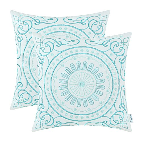Pack 2, CaliTime Cotton Throw Pillow Covers, Vintage Compass