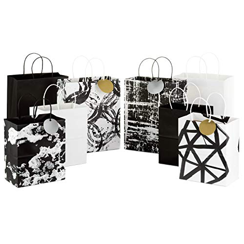 Black And White Gift Bags (Hallmark Black and White Paper Gift Bags Assortment (Pack of 8; 4 Medium 10