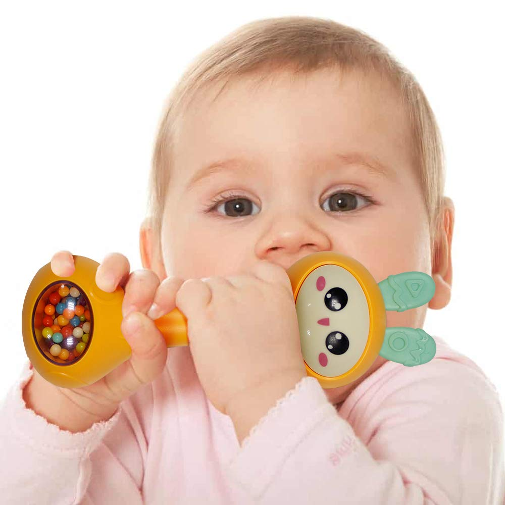 6 Baby Rattle Teether Molar Toy 4 9 SOWOW Baby Grip Silicone Molar Toy Rotating Baby Rattle Gift Set Suitable for Newborn Rattle Musical Toys for 3 7 12 Months 5
