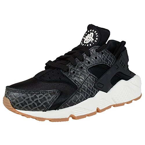Nike Womens Air Huarache Run Premium Fashion Sneakers, black/black-sail-gum med brown, 40.5 B(M) EU/6.5 B(M) UK