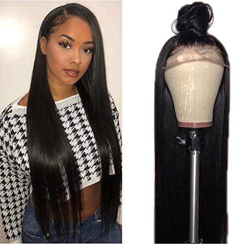 Tuneful 150% Density Human Hair Glueless Lace Front Wigs with Baby Hair Brazilian Straight Human Hair wigs for Black Women Pre Plucked Lace Wigs Natural Hairline 18 inch ()