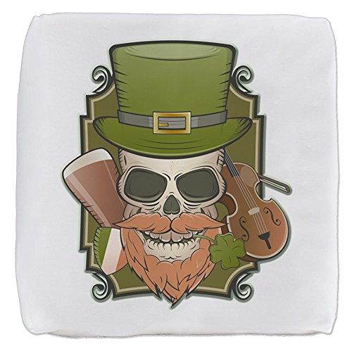 18 Inch 6-Sided Cube Ottoman St Patricks Irish Skull by Truly Teague
