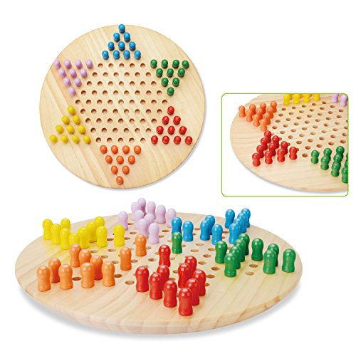 Wooka Chinese Checkers Game Set with Wooden Pegs, 11 Inches Board, Hand Crafted (Chinese Checkers Wood Board)