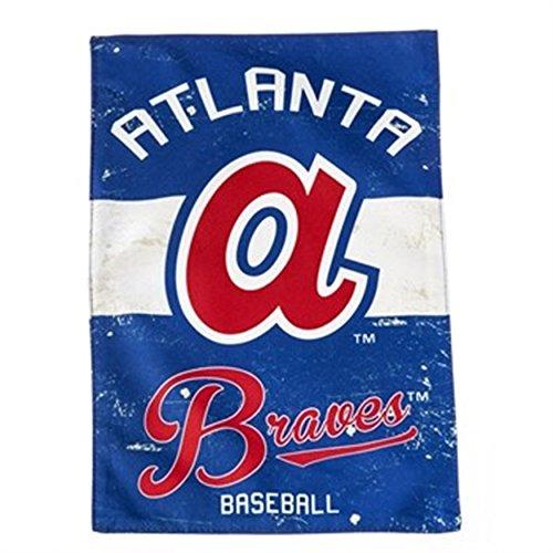 Atlanta Braves EG VINTAGE Retro 2-sided GARDEN Flag Linen Banner Baseball