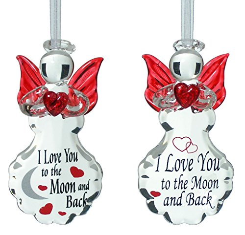 Ornament Love (Angel Ornaments - Set of Ornaments with I Love You to the Moon and Back Design - Gifts for Her)